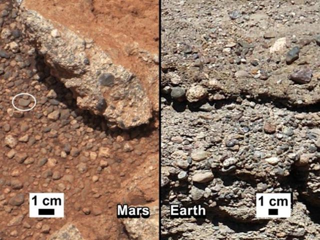 Le Curiosity a photographié des preuves d'un ancien écoulement d'eau sur Mars.
