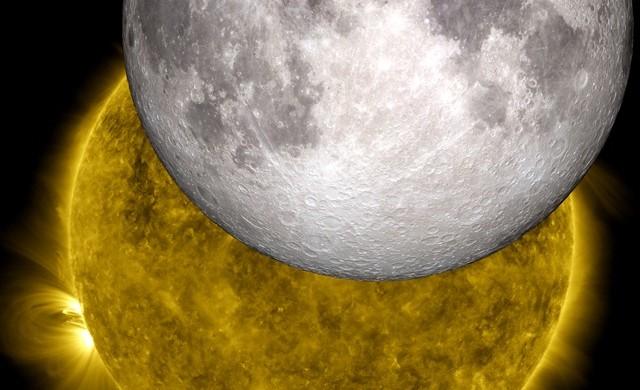 La vue reconstituée la plus précise de la Lune éclipsant le Soleil depuis l'espace
